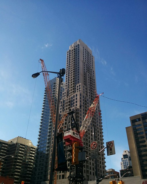 Looking southwest, Yonge and Bloor #toronto #yongeandbloor #skyline #architecture #towers #cranes
