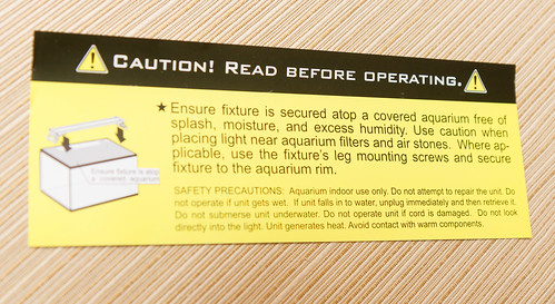 Finnex Planted+ 24/7 HLC Light Fixture Warning to not use near humidity