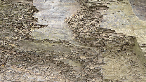 Rock texture of broken shale at the Cliffs of Moher in Ireland