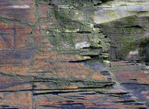 Rock texture in colour at the Cliffs of Moher in Ireland