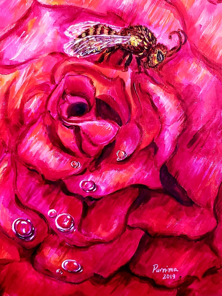 Bee and Rose - acrylic on canvas