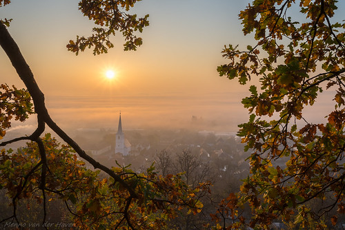 sunrise fog autumn valley transylvania romania church village