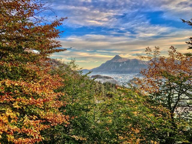 Autumn landscape seen from Nußlberg mountain near Kiefersfelden, Bavaria, Germany