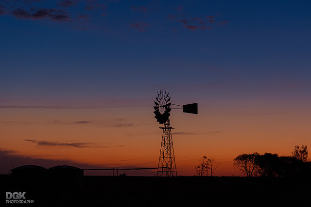 Rural infrastructure at sunset!! - west of Collie, NSW
