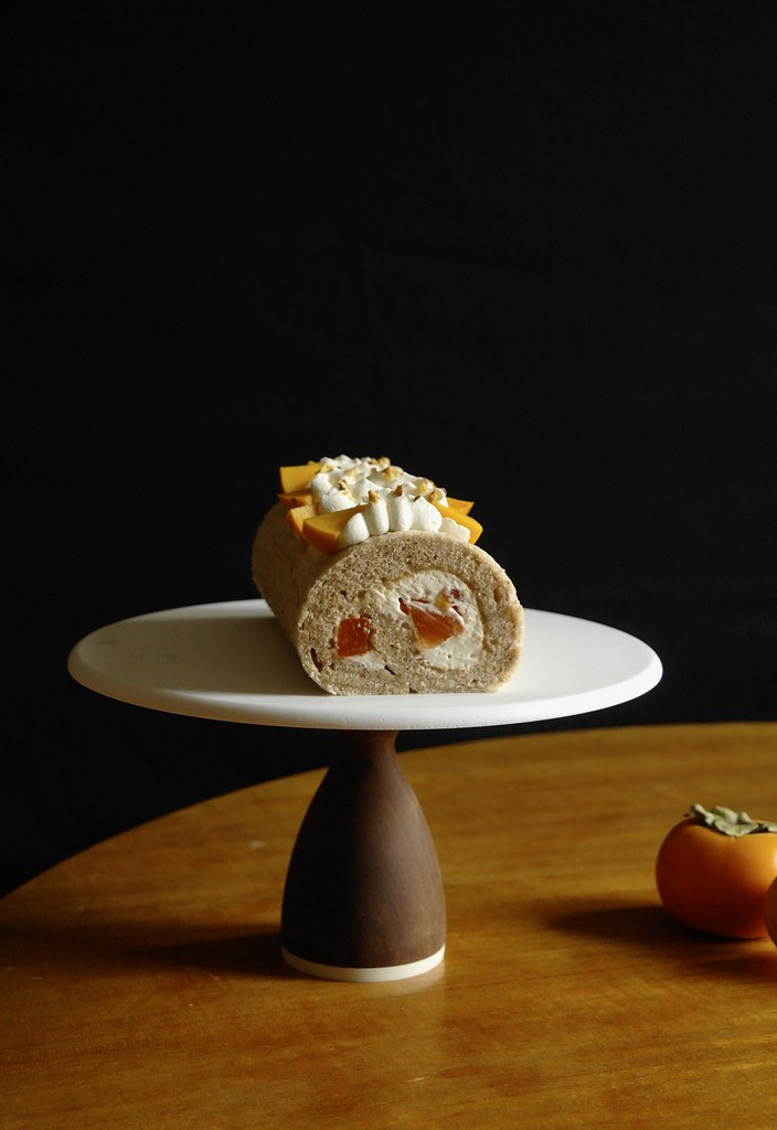 persimmon & walnut roll cake with browned butter cream