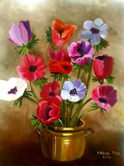 פרידה פירו Frida piro ציירת ישראלית אמנית עכשווית מודרנית ריאליסטית ירושלמית הציירת הישראלית האמנית המודרנית העכשווית הריאליסטית הירושלמית ציורי פרחים כלניות