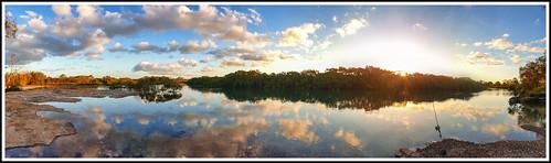 river beach water fishing herveybay australia peace nature light evening sunset trees