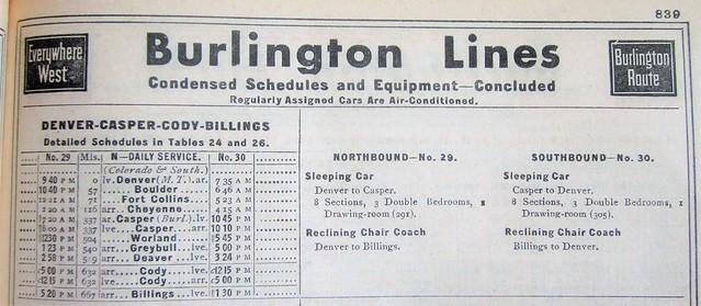 Burlington Route condensed Denver - Billings passenger train schedule and consist 1035