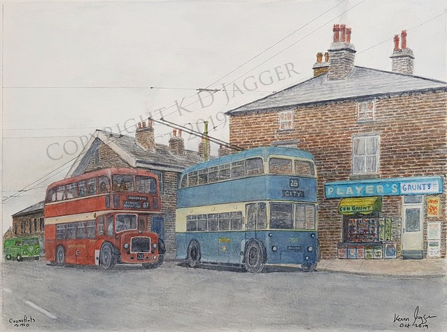 West Yorkshire Lodekka and Bradford Trolleybus  758 at Crossflats. My latest watercolour Oct 2019. Prints may be available.