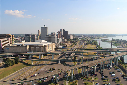 view city cityscape tennessee memphis america nashville building flyover road sky river