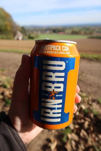 Dose 'Barr Irn-Bru' (= traditionelle schottische Limonade)