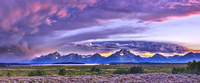 Tetons Sunset Panorama