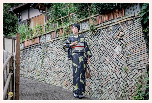 瀬戸市の観光名所、窯垣の小径で着物美女のロケーションフォト