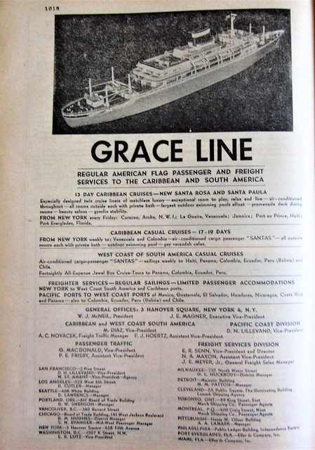 Grace Line to the Caribbean and South America 1040