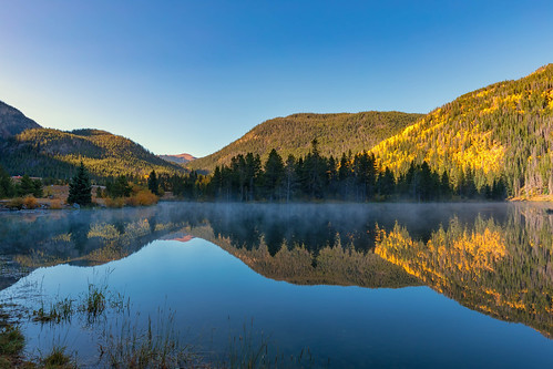 autumn fall reflections pond lake water aspens trees mist landscape colorado officersgulchpond landscapes