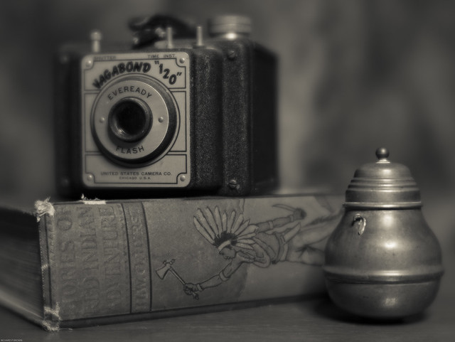 Still Life with Antique camera,Vintage Book and Copper pot