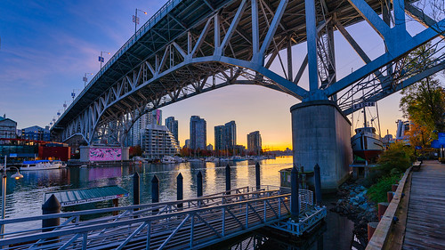 vancouver granvilleisland bridge sunrise steel publicmarket tourism condos downtown a7iii sigma wideangle landscape autumn waterfront britishcolumbia pacificnorthwest
