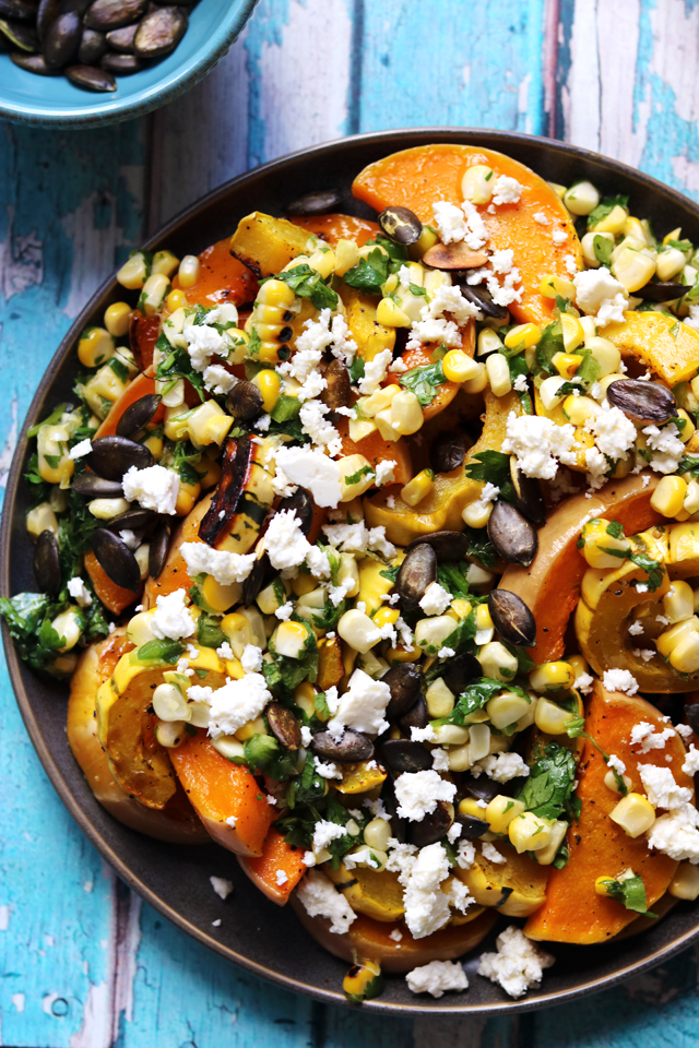 Roasted Butternut Squash With Sweet Corn Salsa Feta And Pepitas Joanne Eats Well With Others