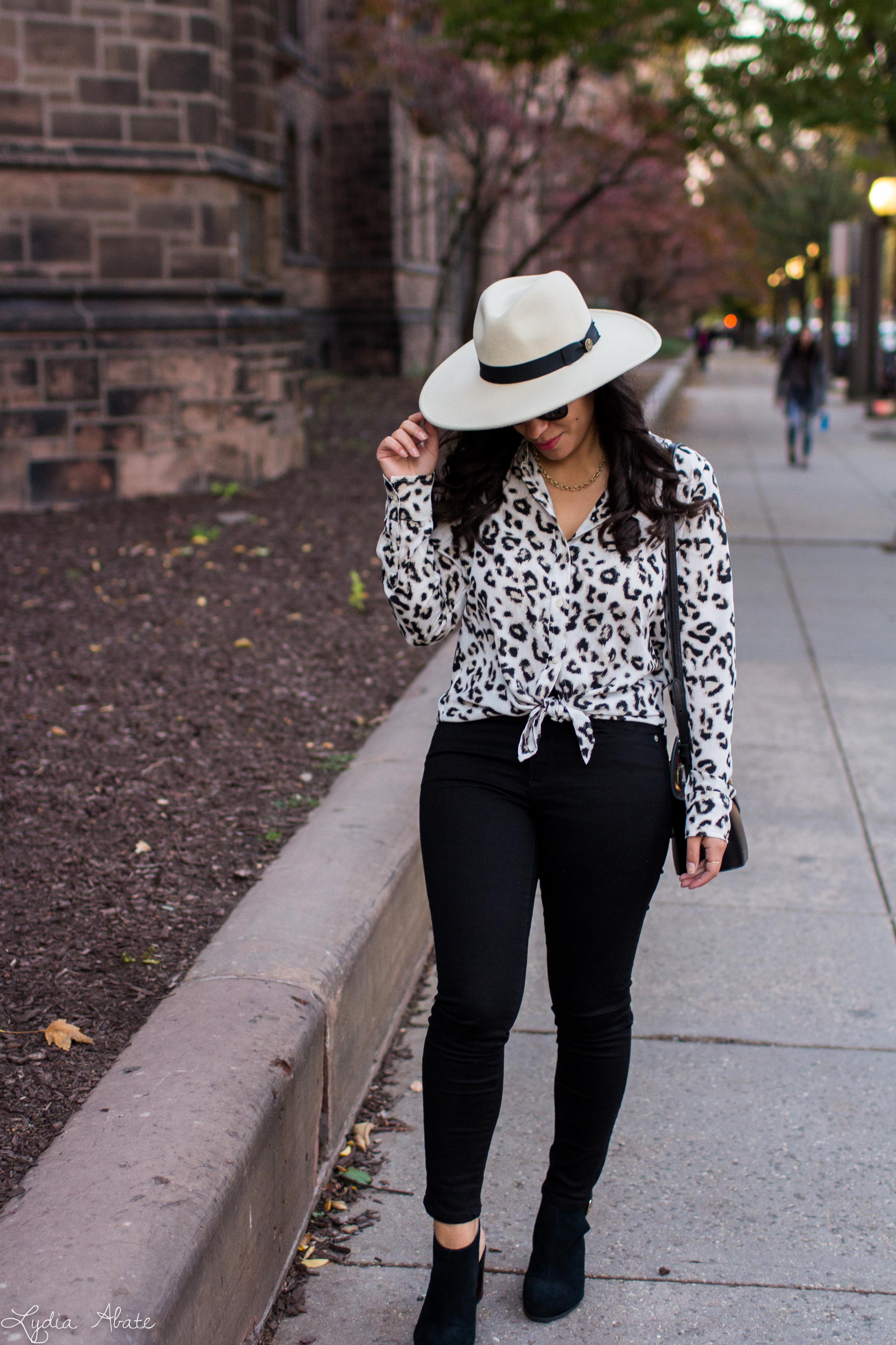 leopard blouse, black jeans, wide brim felt fedora, danse lente bag-4.jpg