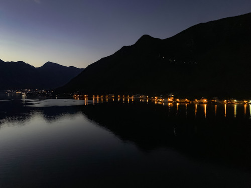 water sea ocean coastal lights mountains hills calm serene serenity quiet early morning dawn sunrise port kotor montenegro europe mediterranean iphone iphonexs photography mood landscape