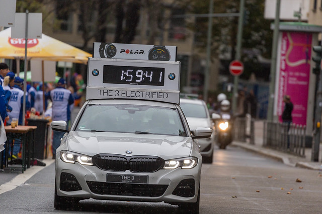 Electrified BMW model 3 as timing car shortly before the magical two-hour point