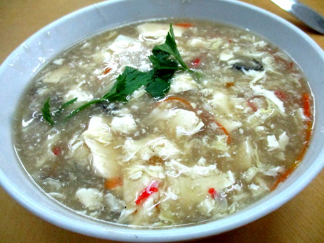 New Hee's Food Corner tofu soup with canned oysters