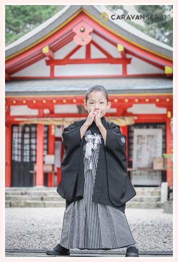 七五三 5歳の男の子 黒の羽織袴