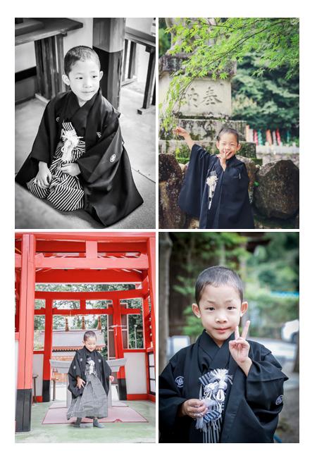5歳の男の子の七五三 黒の羽織袴 鳥居をくぐる