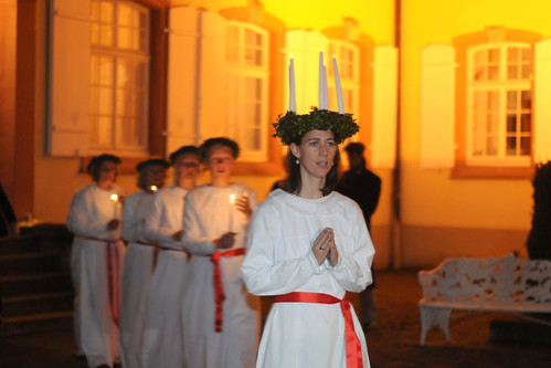 Lucia singing. From A Unique Christmas Experience: Winter Magic on Mainau Island