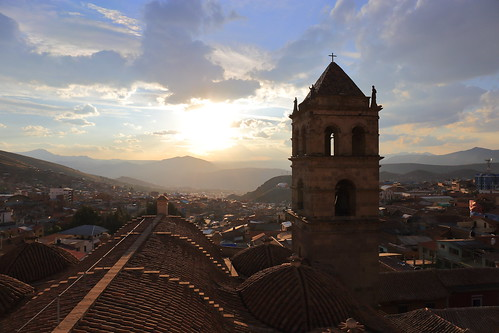 san francisco francis bell tower backlight sunset city view cityscape panorama landscape church monastery convent assisi asis potosi potosì bolivia south america