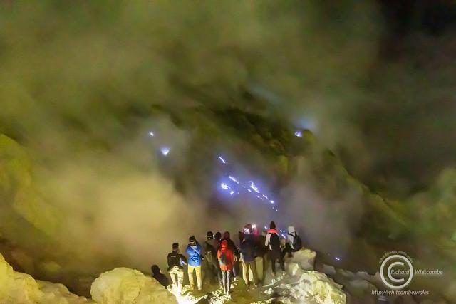 Blue fire in Ijen Crater