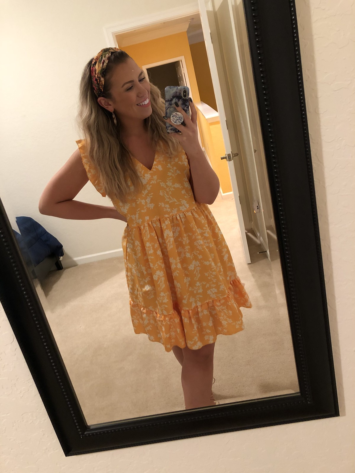 SHEIN Floral Print Ruffle Hem Dress