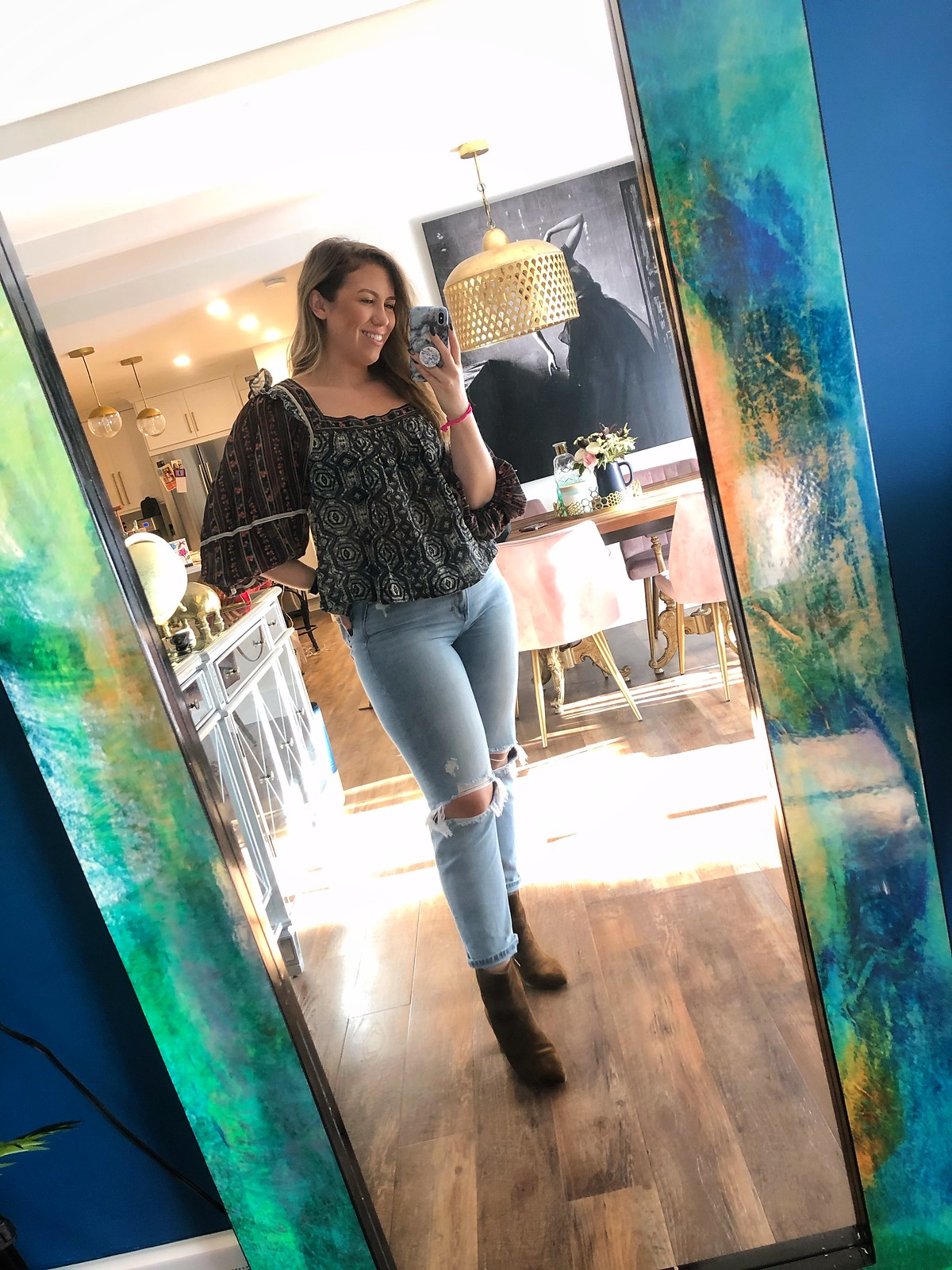 Free People Mostly Meadow Mixed Print Blouse American Eagle Mom Jeans Daily Outfit