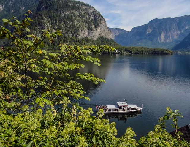 A ferry boat tour around the Lake Hallstatt in Salzkammergut, Austria.
