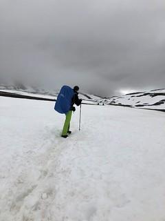 Crossing snowfields near the Tjäktjapass.