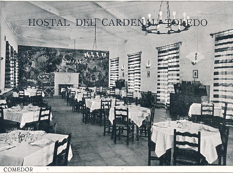 Comedor del Hostal del Cardenal en los años 50. Colección de Tomás García del Cerro