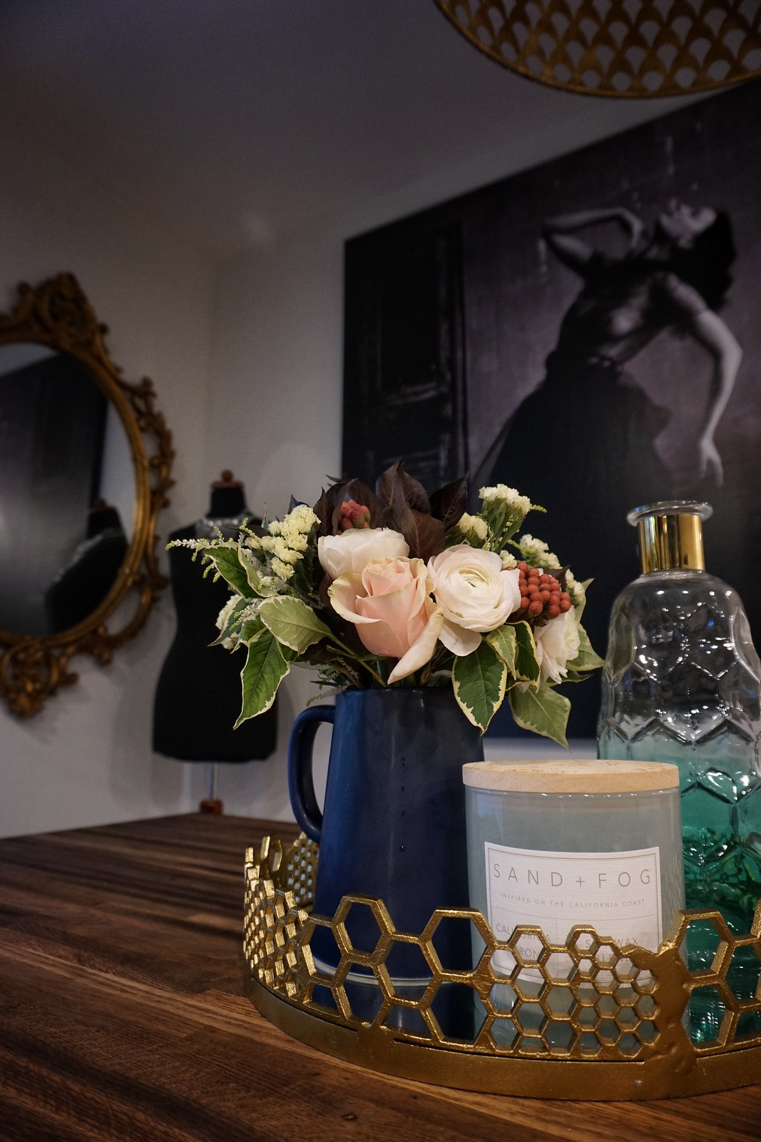 Fall Florals Dining Room Inspiration Vintage Photograph Art Work Vintage Gold Mirror Home House Decor Inspiration