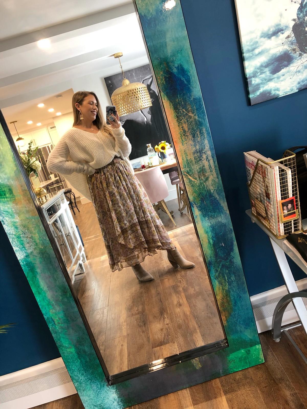 Love Sam Harvest Midi Skirt Daily Mirror Outfit