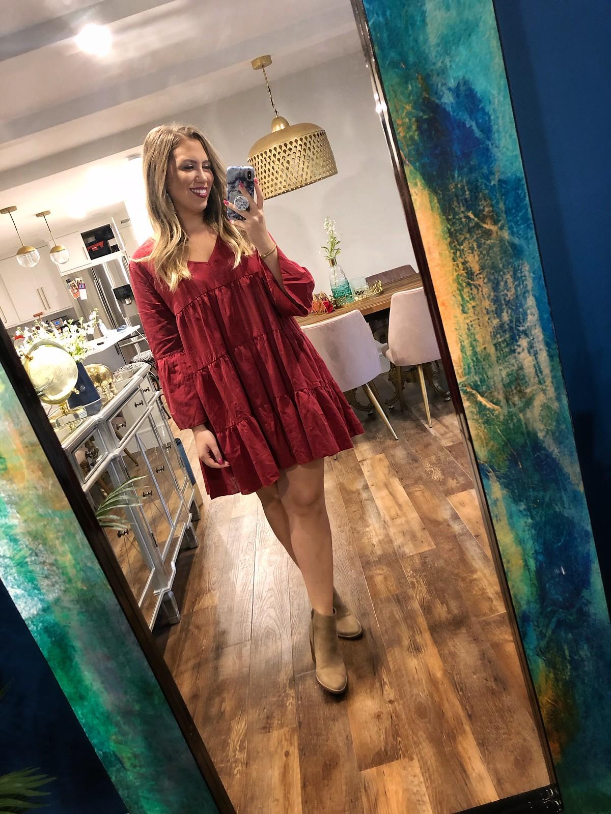 SHEIN V-Neck Ruffle Hem Dress   Mirror Daily Fall Outfit