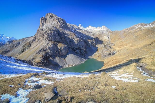 Massif du Galibier.  Le Grand Lac depuis le Clos d'Ane. 2 440m. Hautes Alpes