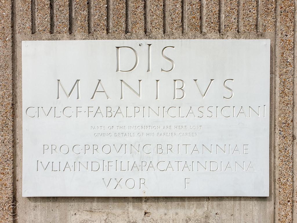 Replica of a funerary memorial to the Roman Gaius Julius Alpinus Classicianus