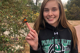 Makenzie Quintana, a student in the Environmental Protection and Compliance Division at LANL, provides a perch for a monarch butterfly raised from an egg that was found on lab property.