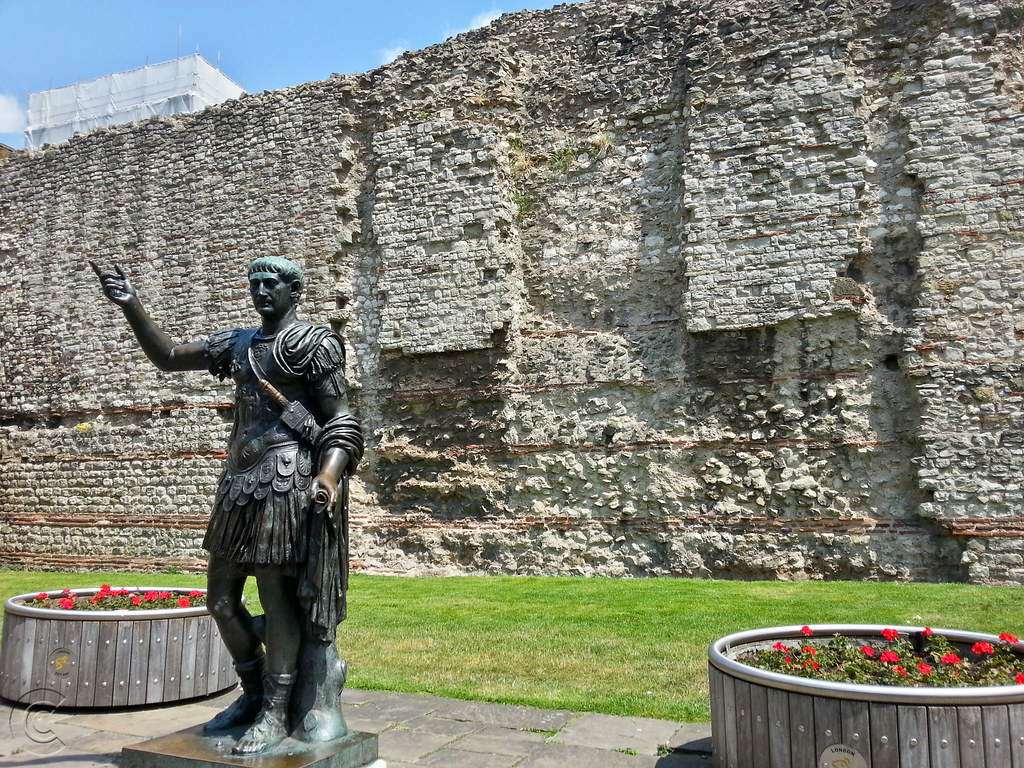Statue of Emperor Trajan, by City Wall, Tower Hill