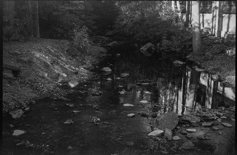 in the shadows, mountain stream, stones, reflections, Montreat Conference Center, near Black Mountain, NC, Pentax Spotomatic, Super Takumar 50mm f-1.4,  HC-110 developer, 10.21.19