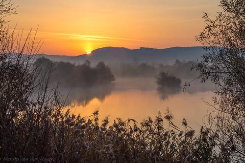 sunrise river water transylvania romania scenic landscape