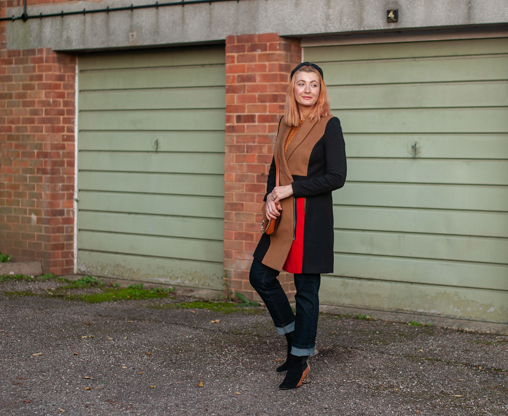 A Colour Block Coat With Straight Leg Jeans | Not Dressed As lamb, over 40 style