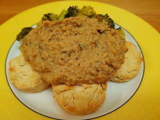 Baking Powder Biscuits and White Bean Tempeh Sausage Gravy