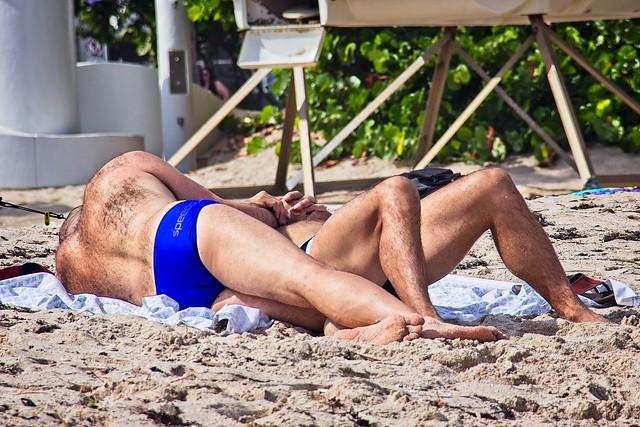 Hairy guys on the beach