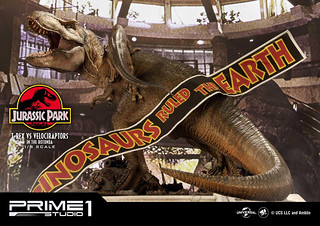 Prime 1 Studio《侏羅紀公園》霸王龍 vs 迅猛龍(ジュラシック・パーク T-REX VS ヴェロキラプトル )Bonus版 1/8 比例雕像作品