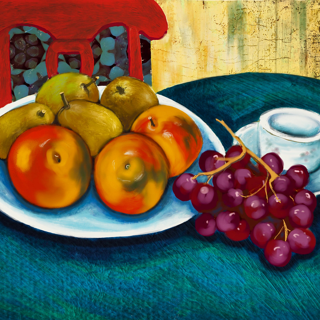 Still life with apples and pears.